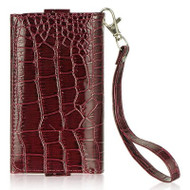 Luxury Leather Wallet Purse for iPhone SE / 5S / 5C / 5 - Croc Burgundy