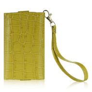 Luxury Leather Wallet Purse for iPhone SE / 5S / 5C / 5 - Croc Lime