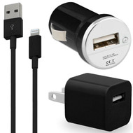 3-IN-1 Lightning Connector Power Adapter Kit - USB Cable / AC / Car Charger - Black