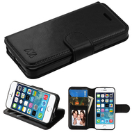 Book-Style Leather Folio Case for iPhone SE / 5S / 5 - Black