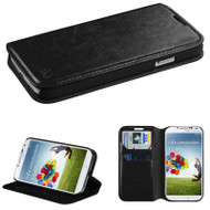 Book-Style Leather Folio Case for Samsung Galaxy S4 - Black