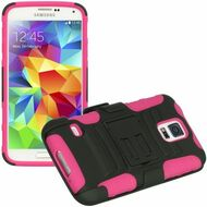 *Sale* Advanced Armor Hybrid Kickstand Case with Holster for Samsung Galaxy S5 - Black Hot Pink