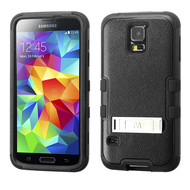 Military Grade Certified TUFF Hybrid Kickstand Armor for Samsung Galaxy S5 - Black