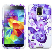 Military Grade Certified TUFF Image Hybrid Case for Samsung Galaxy S5 - Hibiscus Flower Romance Purple