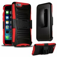*SALE* Advanced Armor Hybrid Kickstand Case with Holster for iPhone 6 / 6S - Black Red
