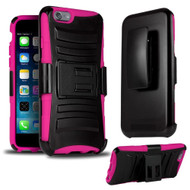 *SALE* Advanced Armor Hybrid Kickstand Case with Holster for iPhone 6 / 6S - Black Hot Pink