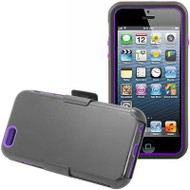 Fusion Multi-Layer Hybrid Case with Holster for iPhone 6 / 6S - Black Purple