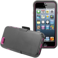 Fusion Multi-Layer Hybrid Case with Holster for iPhone 6 / 6S - Black Hot Pink