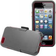 Fusion Multi-Layer Hybrid Case with Holster for iPhone 6 Plus / 6S Plus - Black Red