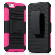 Advanced Armor Hybrid Kickstand Case with Holster for iPhone 6 Plus / 6S Plus - Black Hot Pink