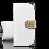 Luxury Portfolio Leather Wallet Case for iPhone 6 / 6S - Crocodile White