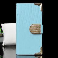 Luxury Portfolio Leather Wallet Case for iPhone 6 / 6S - Crocodile Blue