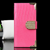 Luxury Portfolio Leather Wallet Case for iPhone 6 / 6S - Crocodile Hot Pink