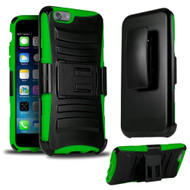 *SALE* Advanced Armor Hybrid Kickstand Case with Holster for iPhone 6 Plus / 6S Plus - Black Green
