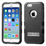 Military Grade Certified TUFF Hybrid Kickstand Case for iPhone 6 / 6S - Black