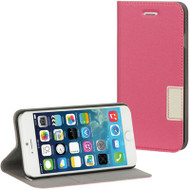 Leather Flip Hybrid Wallet Case for iPhone 6 / 6S - Hot Pink