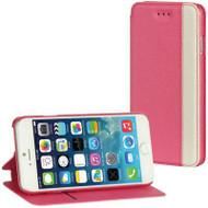 Designer Folio Hybrid Wallet Case for iPhone 6 - Hot Pink White