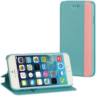 Designer Folio Hybrid Wallet Case for iPhone 6 / 6S - Teal Pink
