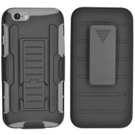 Robust Armor Stand Protector Cover with Holster for iPhone 6 / 6S - Black Grey