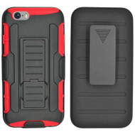 Robust Armor Stand Protector Cover with Holster for iPHone 6 / 6S - Black Red