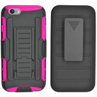 Robust Armor Stand Protector Cover with Holster for iPhone 6 / 6S - Black Hot Pink