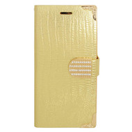 Luxury Portfolio Leather Wallet Case for iPhone 6 Plus / 6S Plus - Gold Croc Gold