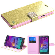Glitter Leather Wallet Case for Samsung Galaxy Note 4 - Gold