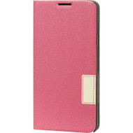 Leather Flip Hybrid Wallet Case for Samsung Galaxy Note 4 - Hot Pink