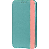 Designer Folio Hybrid Wallet Case for Samsung Galaxy Note 4 - Teal Pink