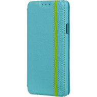 Business Leather Wallet Case for Samsung Galaxy Note 4 - Blue Green