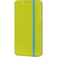 Business Leather Wallet Case for Samsung Galaxy Note 4 - Green Blue