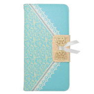 Lace Leather Folio Wallet Case for iPhone 6 Plus / 6S Plus - Baby Blue