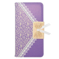 Lace Leather Folio Wallet Case for iPhone 6 Plus / 6S Plus - Purple