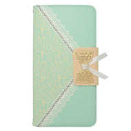 Lace Leather Folio Wallet Case for iPhone 6 Plus / 6S Plus - Tiffany Green