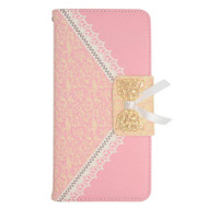 Lace Leather Folio Wallet Case for iPhone 6 Plus / 6S Plus - Pink