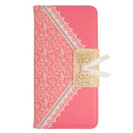 Lace Leather Folio Wallet Case for iPhone 6 Plus / 6S Plus - Hot Pink