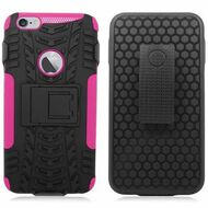 Trac Armor Hybrid Kickstand Case with Holster for iPhone 6 Plus / 6S Plus - Black Hot Pink