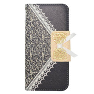 Lace Leather Folio Wallet Case for iPhone 6 / 6S - Black