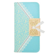 Lace Leather Folio Wallet Case for iPhone 6 / 6S - Baby Blue