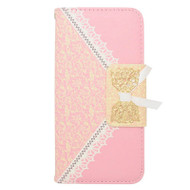 Lace Leather Folio Wallet Case for iPhone 6 / 6S - Pink