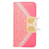 Lace Leather Folio Wallet Case for iPhone 6 / 6S - Hot Pink