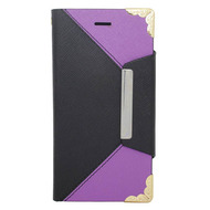 Leather Wallet Book Style Folio Case for iPHone 6 / 6S - Black Purple