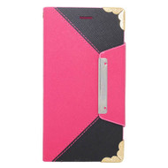 Leather Wallet Book Style Folio Case for iPHone 6 / 6S - Hot Pink Black
