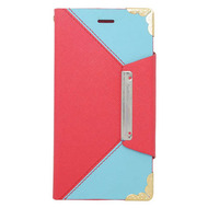 Leather Wallet Book Style Folio Case for iPHone 6 / 6S - Red Baby Blue