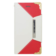 Leather Wallet Book Style Folio Case for iPHone 6 / 6S - White Red
