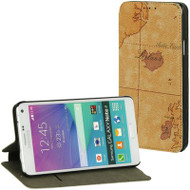 Executive Graphic Leather Wallet Case for Samsung Galaxy Note 4 - World Map Brown