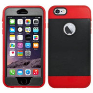 Triple Layer Hybrid Armor Case with Integrated Screen Protector for iPhone 6 Plus / 6S Plus - Black Red