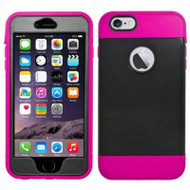 Triple Layer Hybrid Armor Case with Integrated Screen Protector for iPhone 6 Plus / 6S Plus - Black Hot Pink