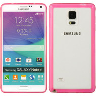Glassy Transparent Gummy Cover for Samsung Galaxy Note 4 - Hot Pink