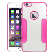 Aluminum Alloy Hybrid Armor Case for iPhone 6 Plus / 6S Plus - Silver Hot Pink